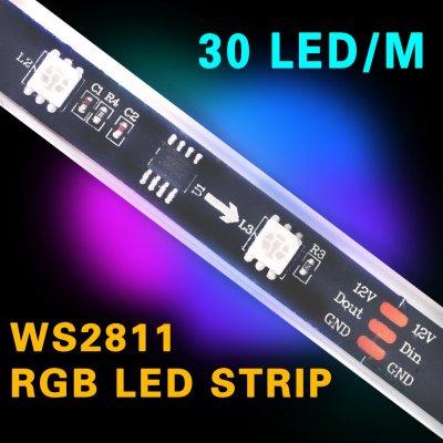 TAŚMA CYFROWA MAGIC STRIP Epistar LED RGB 1m 150LED IP67 czarny laminat