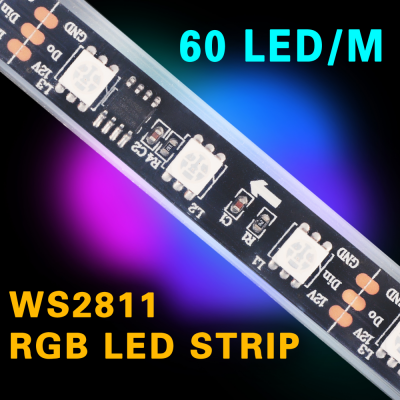 TAŚMA CYFROWA MAGIC STRIP Epistar LED RGB 5m 300LED IP67 czarny laminat