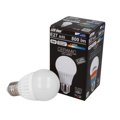 Żarówka LED LEDLINE E27 duży gwint A55 CSP 8W 800lm biała dzienna
