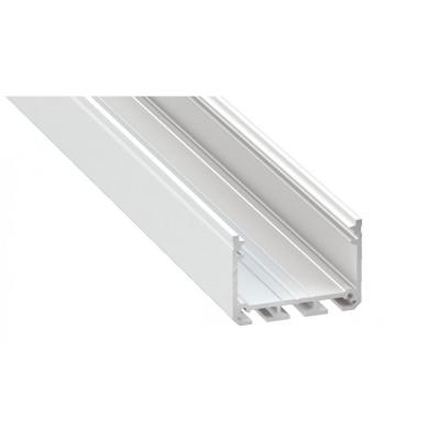 Profil LED architektoniczny napowierzchniowy ILEDO biały lakierowany z kloszem transparentnym 1m