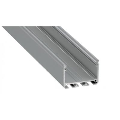 Profil LED architektoniczny napowierzchniowy ILEDO srebrny anodowany z kloszem mlecznym 2m