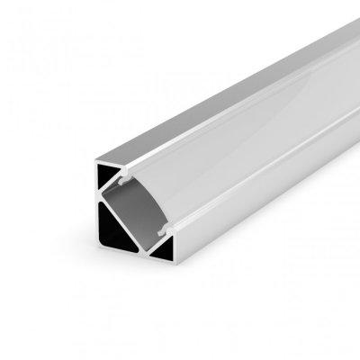 Profil LED Kątowy P3-1 anodowany z kloszem transparentnym 2m