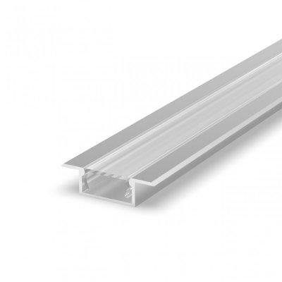 Profil LED Wpuszczany P6-2 anodowany z kloszem transparentnym 2m