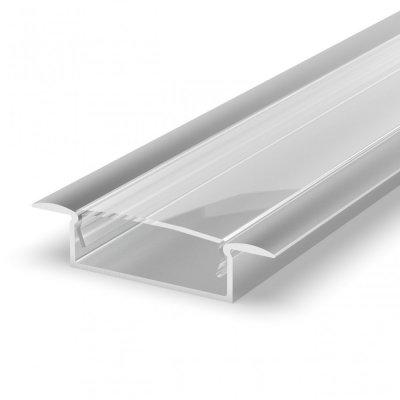 Profil LED Wpuszczany P14-1 anodowany z kloszem transparentnym 2m