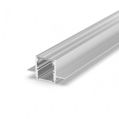 Profil LED Wpuszczany P25-2 anodowany z kloszem transparentnym 2m