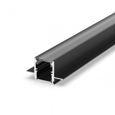 Profil LED Wpuszczany P25-2 czarny lakierowany z kloszem transparentnym 2m