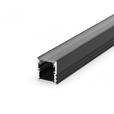 Profil LED Nawierzchniowy P25-3 czarny lakierowany z kloszem transparentnym 2m