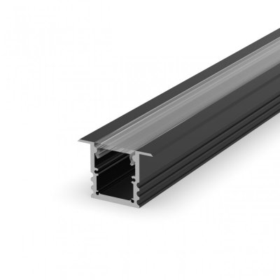 Profil LED Wpuszczany P25-1 czarny lakierowany z kloszem transparentnym 2m