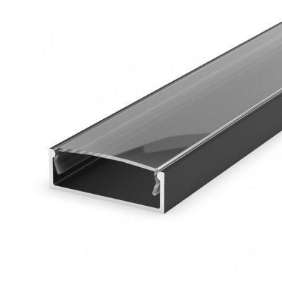 Profil LED Nawierzchniowy P13-1 czarny lakierowany z kloszem transparentnym 2m