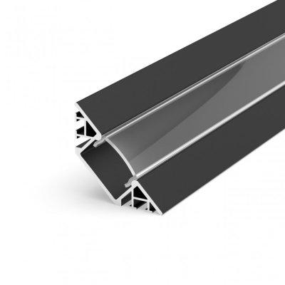 Profil LED Kątowy P7-1 czarny lakierowany z kloszem transparentnym 2m