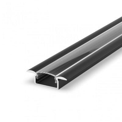 Profil LED Wpuszczany P6-1 czarny lakierowany z kloszem transparentnym 2m
