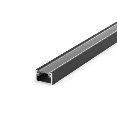 Profil LED Nawierzchniowy P4-2 czarny lakierowany z kloszem transparentnym 2m