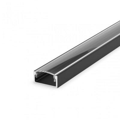 Profil LED Nawierzchniowy P4-1 czarny lakierowany z kloszem transparentnym 2m