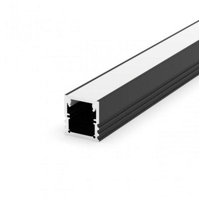 Profil LED Nawierzchniowy P25-3 czarny lakierowany z kloszem mlecznym 2m