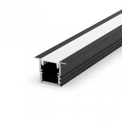 Profil LED Wpuszczany P25-1 czarny lakierowany z kloszem mlecznym 2m