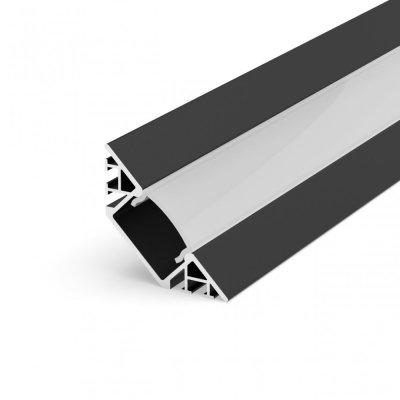 Profil LED Kątowy P7-1 czarny lakierowany z kloszem mlecznym 2m
