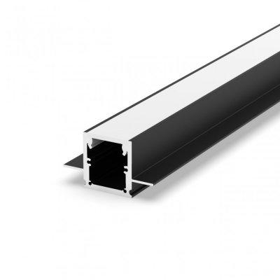 Profil LED Wpuszczany P25-2 czarny lakierowany z kloszem mlecznym 2m