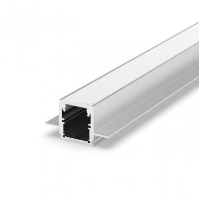Profil LED Wpuszczany P25-2 anodowany z kloszem mlecznym 2m