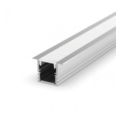 Profil LED Wpuszczany P25-1 anodowany z kloszem mlecznym 2m