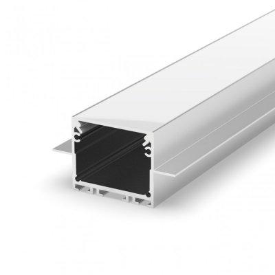 Profil LED wpuszczany P22-2 srebrny biały lakierowany z kloszem mlecznym 2m