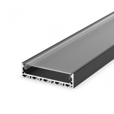 Profil LED architektoniczny napowierzchniowy P20-1 czarny lakierowany z kloszem transparentnym 2m