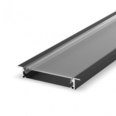 Profil LED architektoniczny wpuszczany P21-1 czarny lakierowany z kloszem transparentnym 2m