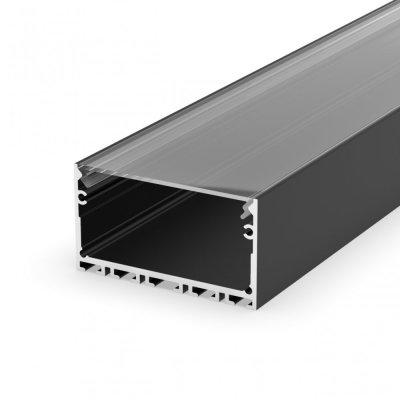Profil LED architektoniczny napowierzchniowy P23-3 czarny lakierowany z kloszem transparentnym 2m