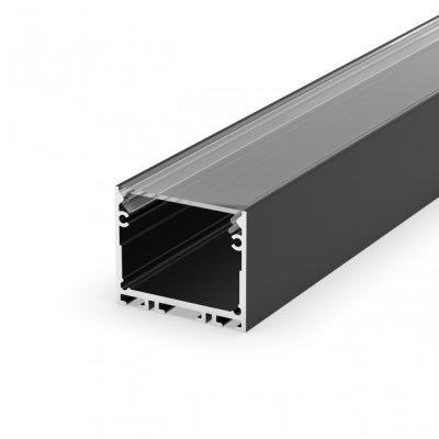 Profil LED architektoniczny napowierzchniowy P22-3 czarny lakierowany z kloszem transparentnym 2m