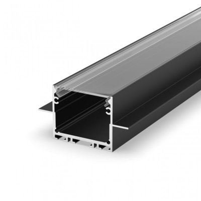Profil LED wpuszczany P22-2 srebrny czarny lakierowany z kloszem transparentnym 2m