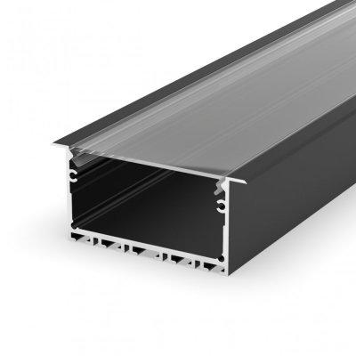 Profil LED wpuszczany P23-1 czarny lakierowany z kloszem transparentnym 2m
