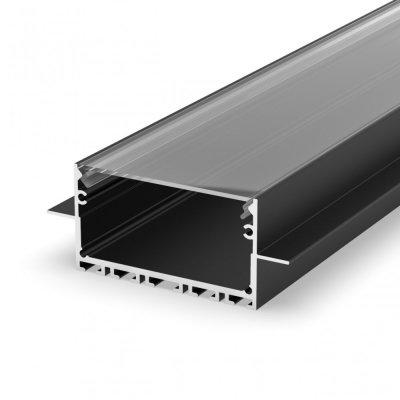 Profil LED wpuszczany P23-2 czarny lakierowany z kloszem transparentnym 2m