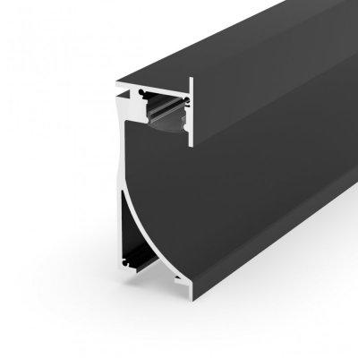 Profil LED architektoniczny ścienny P26-1 czarny lakierowany z kloszem transparentnym 2m