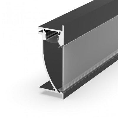 Profil LED architektoniczny ścienny P26-2 czarny lakierowany z kloszem transparentnym 2m