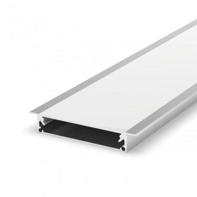 Profil LED architektoniczny wpuszczany P21-1 anodowany z kloszem mlecznym 2m