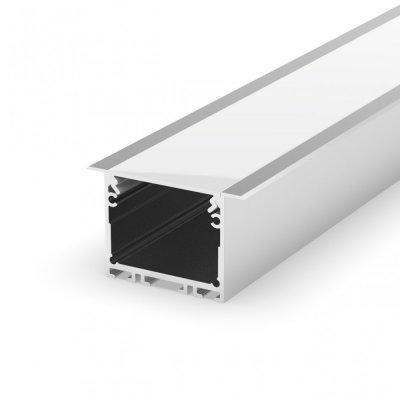 Profil LED wpuszczany P22-1 srebrny anodowany z kloszem mlecznym 2m