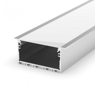 Profil LED wpuszczany P23-1 srebrny anodowany z kloszem mlecznym 2m