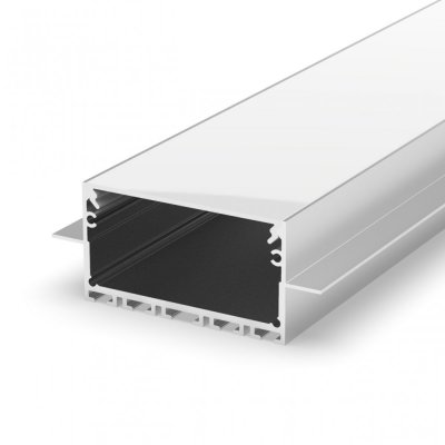 Profil LED wpuszczany P23-2 srebrny anodowany z kloszem mlecznym 2m