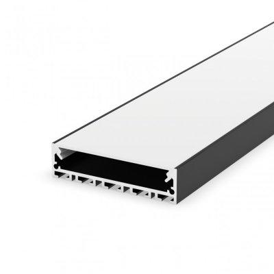 Profil LED architektoniczny napowierzchniowy P20-1 czarny lakierowany z kloszem mlecznym 2m