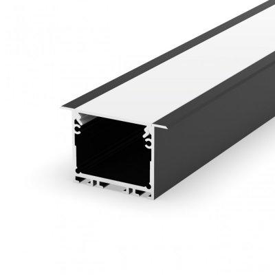 Profil LED wpuszczany P22-1 czarny lakierowany z kloszem mlecznym 2m