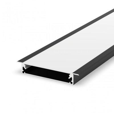 Profil LED architektoniczny wpuszczany P21-1 czarny lakierowany z kloszem mlecznym 2m