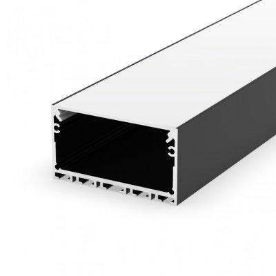Profil LED architektoniczny napowierzchniowy P23-3 czarny lakierowany z kloszem mlecznym 2m