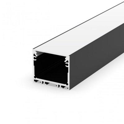 Profil LED architektoniczny napowierzchniowy P22-3 czarny lakierowany z kloszem mlecznym 2m