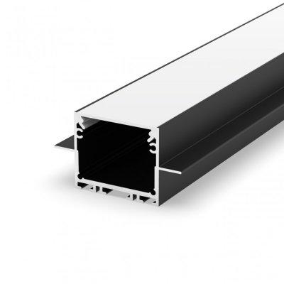 Profil LED wpuszczany P22-2 srebrny czarny lakierowany z kloszem mlecznym 2m