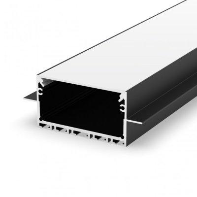 Profil LED wpuszczany P23-2 czarny lakierowany z kloszem mlecznym 2m