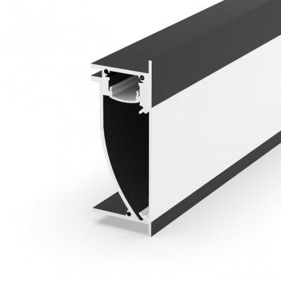 Profil LED architektoniczny ścienny P26-2 czarny lakierowany z kloszem mlecznym 2m
