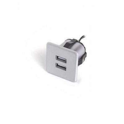 Ładowarka USB wpuszczana 12V 2x1A srebrna kwadratowa