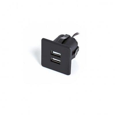 Ładowarka USB wpuszczana 12V 2x1A czarna kwadratowa