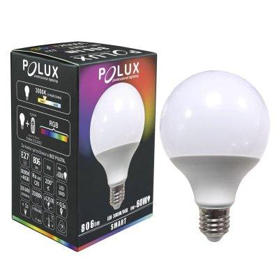 Żarówka Polux SMART E27 G95 9W RGBW biała ciepła IR
