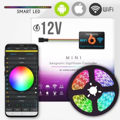 Zestaw Sterownik Bengrants Digit Vision Mini 2.0 + 5 m taśmy cyfrowej 150 12V + zasilacz