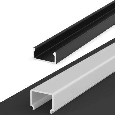 Profil LED Nawierzchniowy P4-1 czarny z wysokim kloszem mlecznym 1m